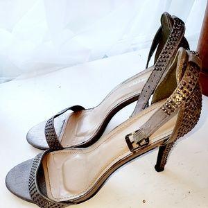 Rhinestone Pewter heel sandals sz 10